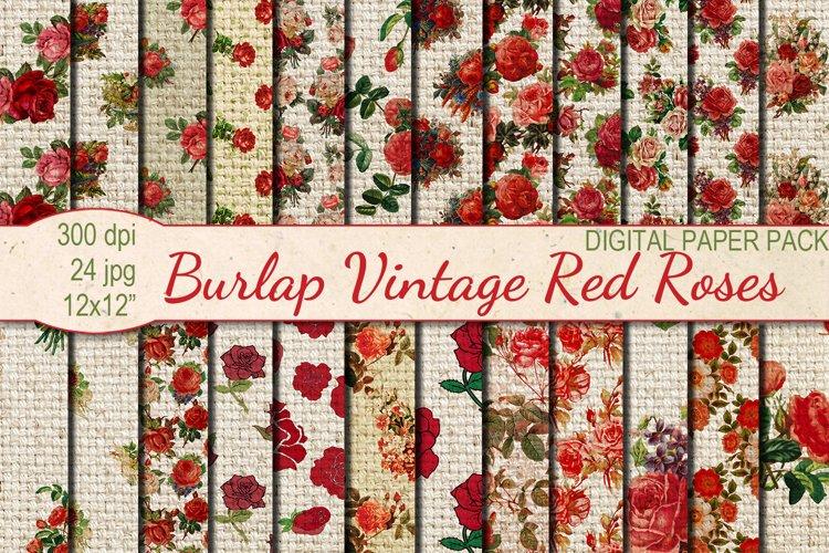 Vintage Burlap Red Roses digital paper pack example image 1