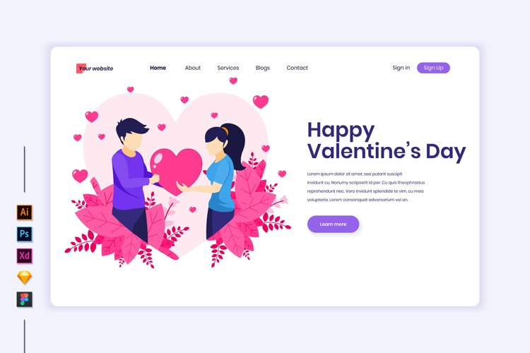 Valentine's Day concept flat Illustration landing page example image 1