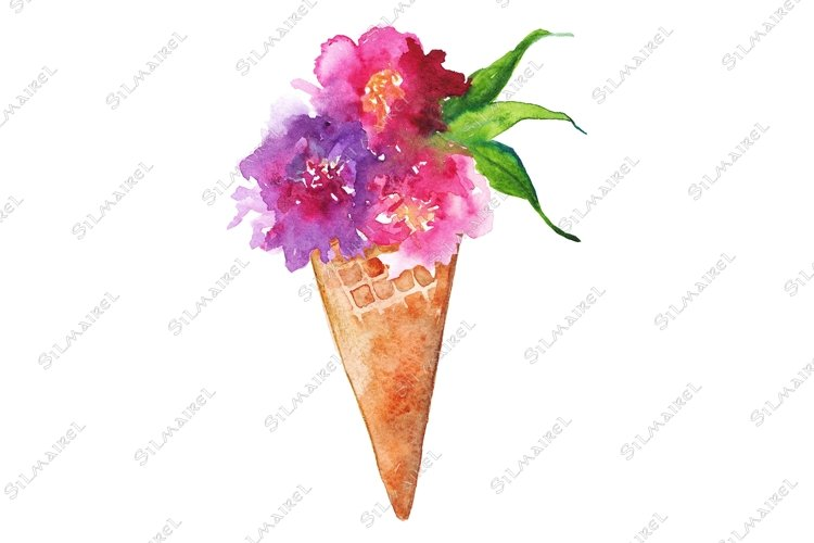 Watercolor flower bouquet peony rose carnation ice-cream example image 1
