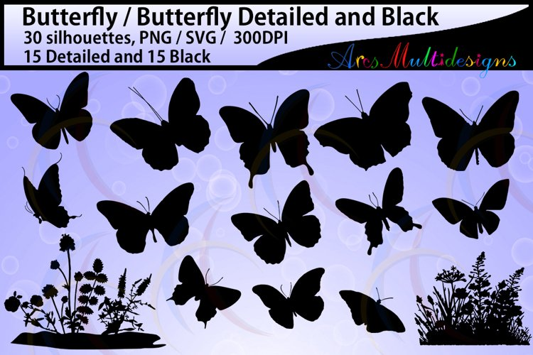 Butterfly silhouette /SVG files / insects / High Quality /plants silhouette / flower silhouette / vector butterfly / plants svg file