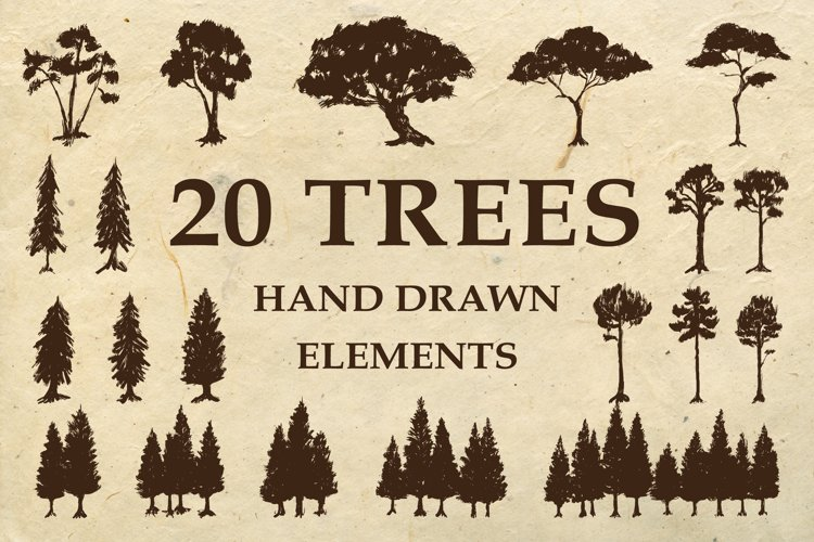 Hand Drawn Trees Silhouette Illustration