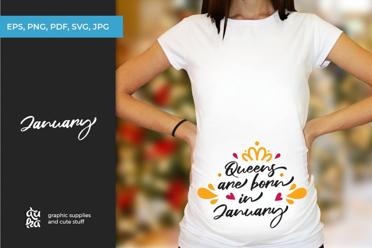 Queens are born in January | Pregnancy SVG example image 1