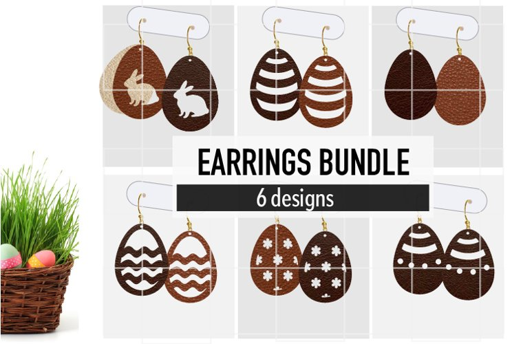 Easter Earrings Bundle Svg / Leather / Faux / Wood / Cut example image 1