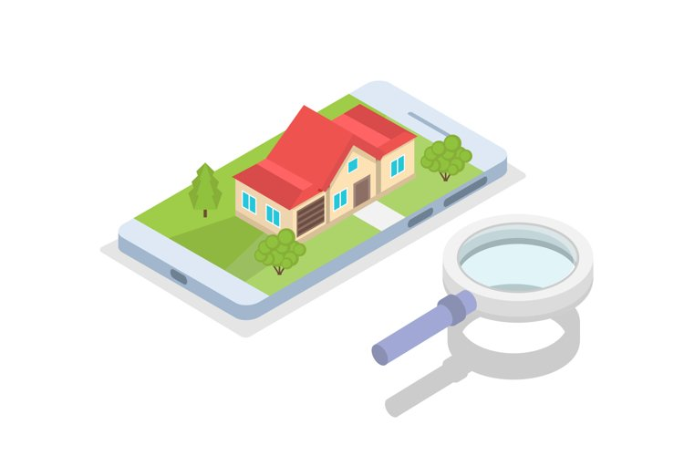 Real estate House on a map search isometric concept. example image 1