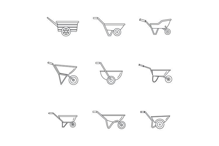 Wheelbarrow garden plant icons set, outline style example image 1