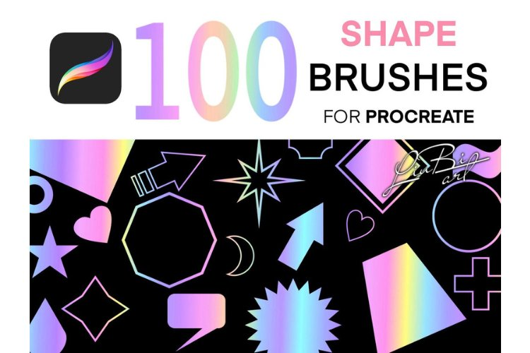 100 Shapes Stamps Brushes Set for Procreate, Geometric example image 1