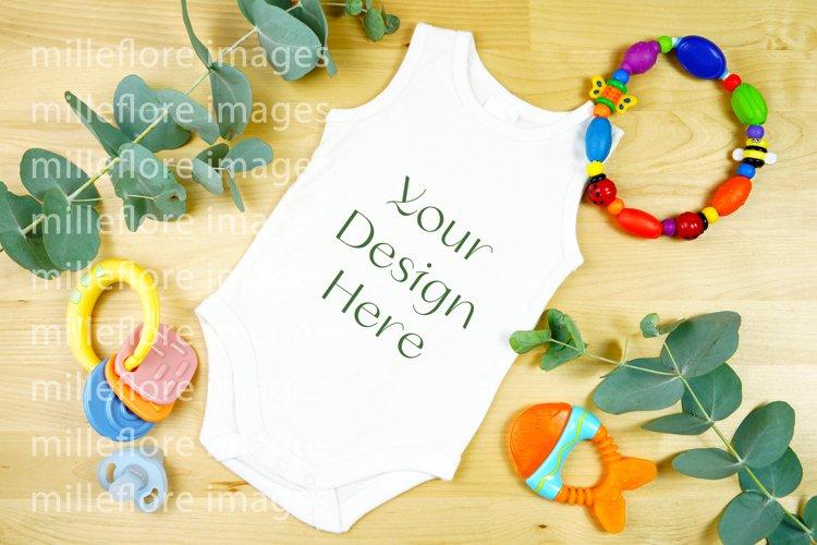 Baby Wear Sleeveless Onesie Bodysuit Mockup Styled Photo example image 1