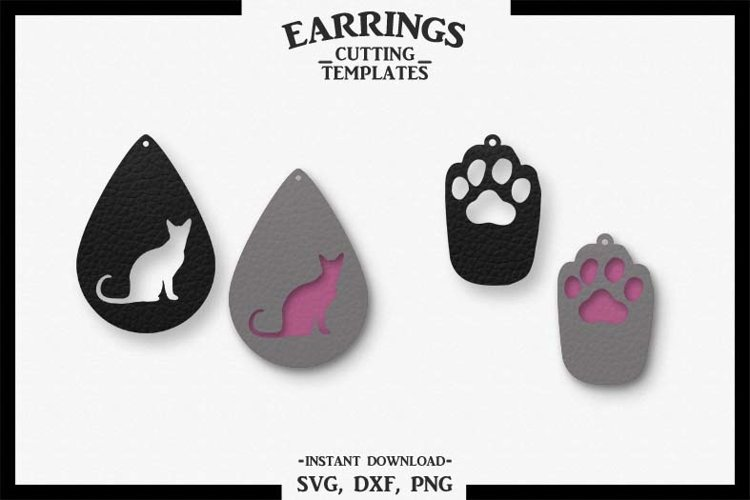 Cat Earrings, Paw, Silhouette, Cricut, Cut File, SVG DXF PNG example image 1