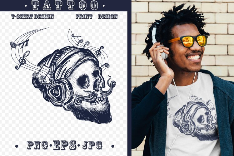 Human skull tattoo example image 1