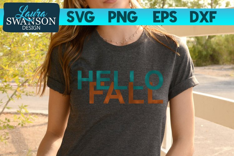 Hello Fall SVG Cut File | Interlocking Letters SVG Cut File