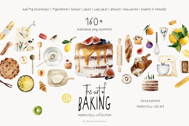 Baking clipart watercolor collection