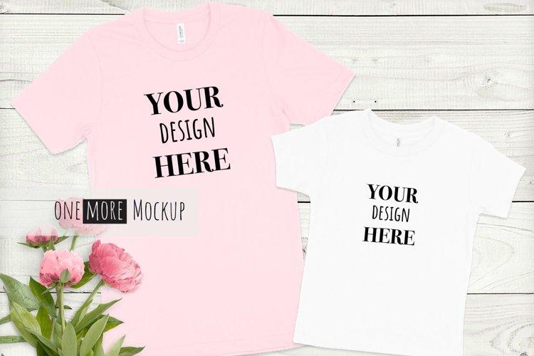 Mom and Me Shirts Mockup  Bella Canvas Mockup  Pink Peonies