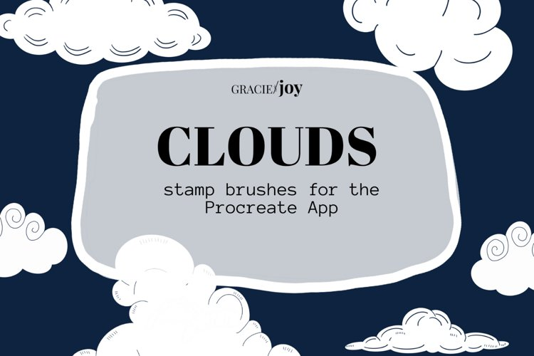 Clouds Procreate Stamp Brush example image 1