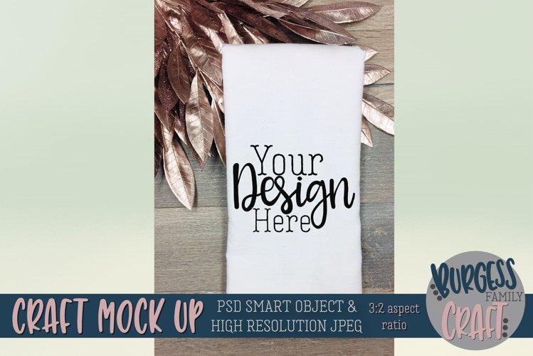 Flour sack tea towel pink leaves Craft mock up|PSD & JPEG example image 1