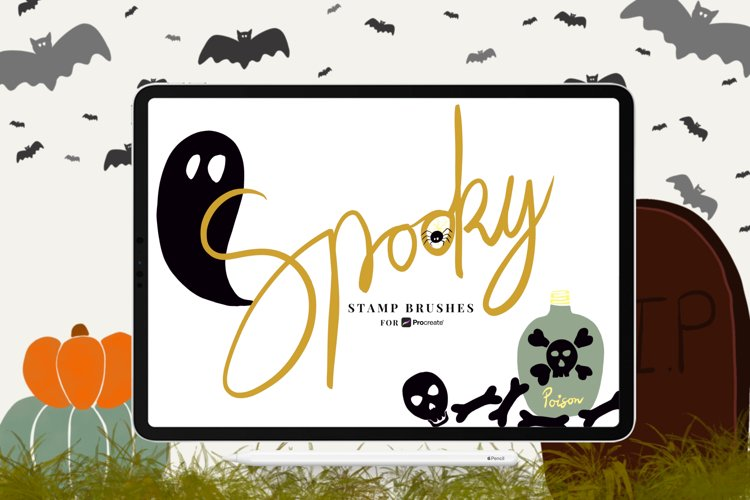 Spooky Stamp Brushes for Procreate example image 1