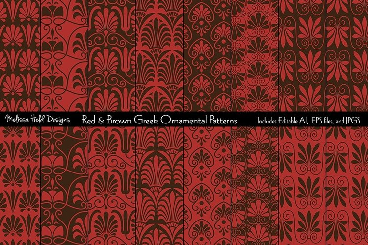 Red Brown Seamless Greek Ornamental Patterns