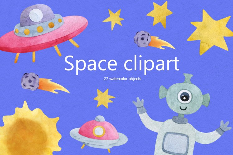 Watercolocolor alien clipart with space