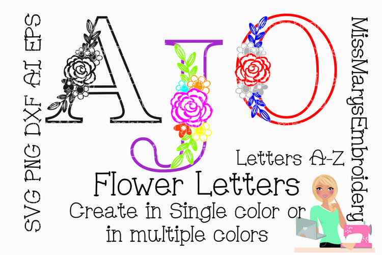 Spring Flower Letters SVG Cutting File PNG DXF AI EPS