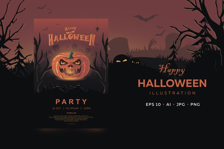Halloween banner. Invitation with holiday symbol - pumpkin. example image 1