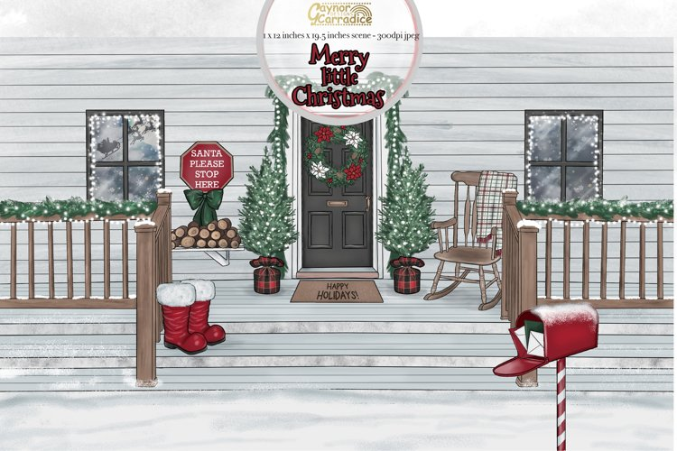 Merry Little Christmas scene - Christmas porch example image 1