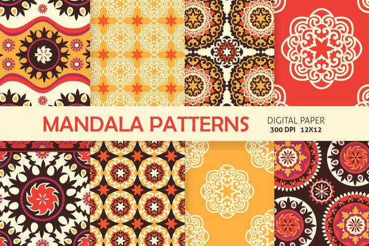 Ethnic Digital Paper, Mandala Seamless Pattern, Uzbek Suzani example image 1