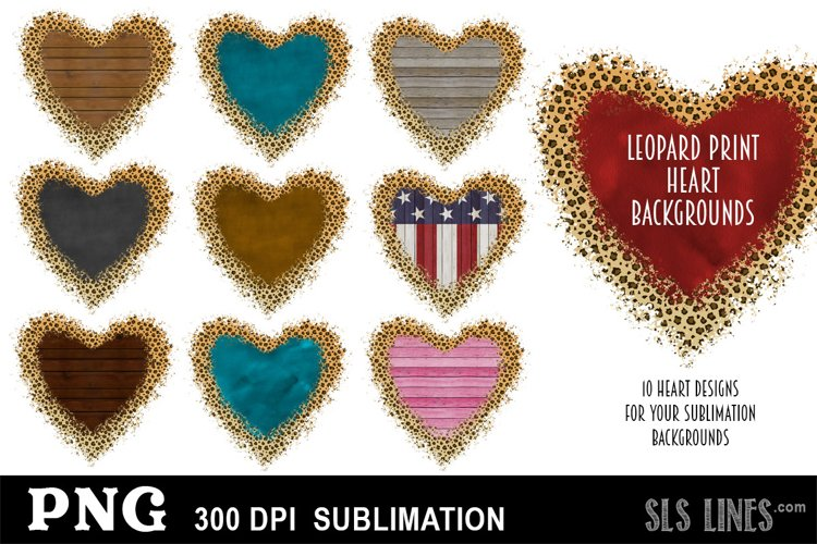 Heart Shape Sublimation Backgrounds with Leopard Print