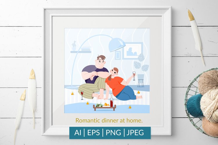 Romantic dinner at home. Vector illustration.
