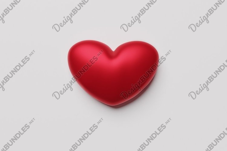 Mock up heart on a white background. Valentine's day mockup. example image 1