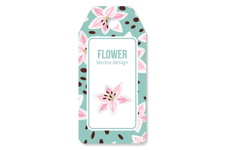 Tag with pink lilies flower pattern example image 1