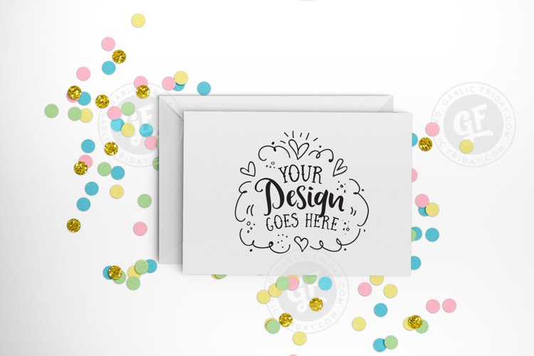 Pastel confetti greeting card mockup with smart objects PSD (landscape) 0009-19