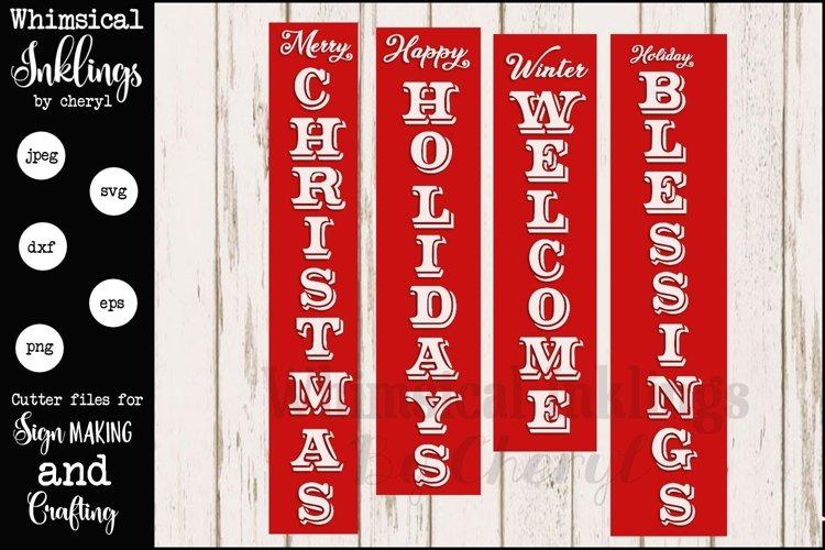 Vertical Christmas Sentiments Mini Bundle SVG example image 1