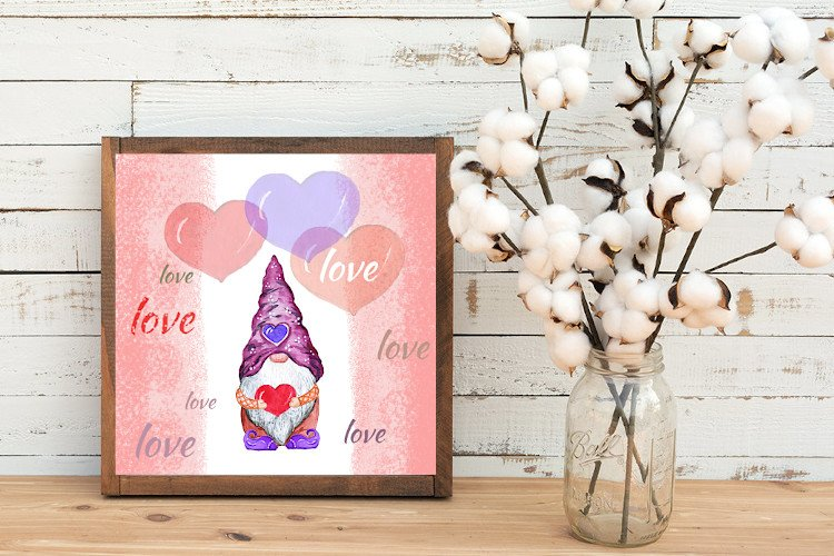 Valentine gnome, a love gnome with a heart and balloons example image 1