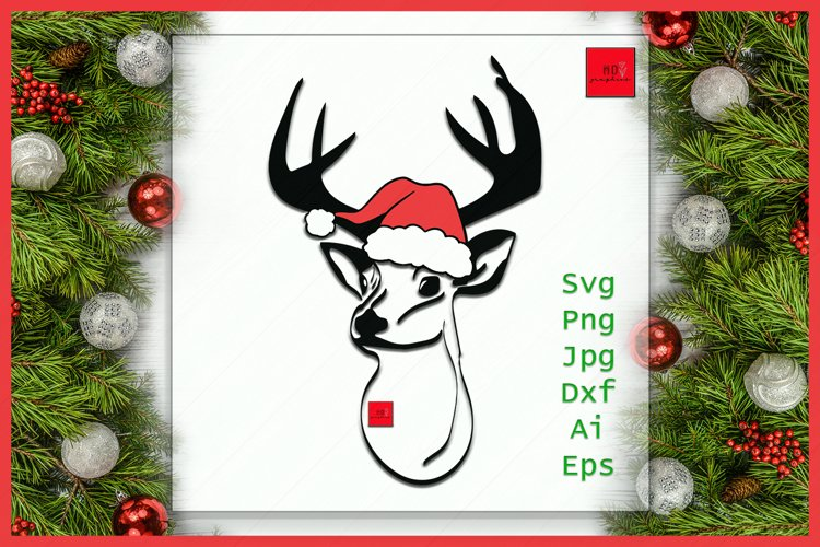 Christmas Deer SVG, Deer face SVG, Deer SVG, Christmas svg example image 1
