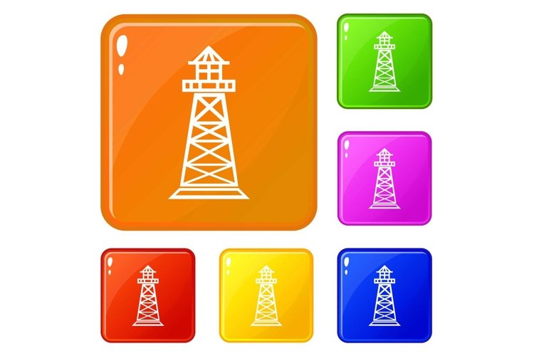 Lighthouse icons set vector color example image 1