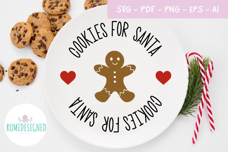 Christmas Cookies For Santa Plate Svg Cut File example image 1