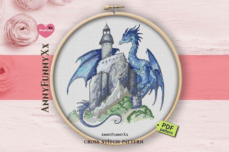 Dragon cross stitch pattern PDF, Fantasy cross stitch