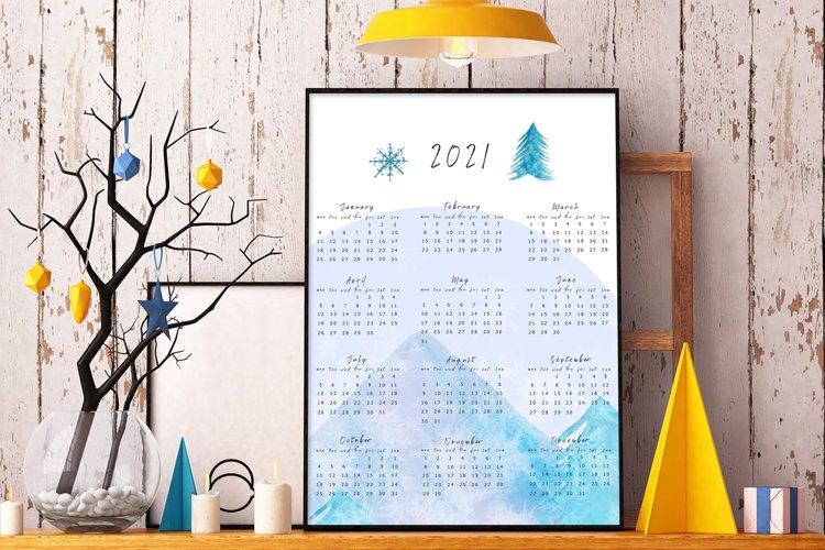2021 Watercolor Mountains Wall Calendar. 2021 Printable. example image 1