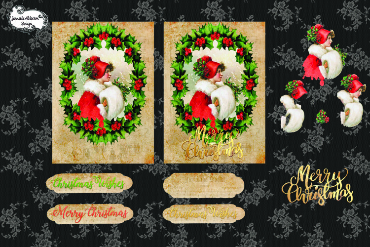 Christmas Holly Girl in Red Christmas Card cutting file example image 1