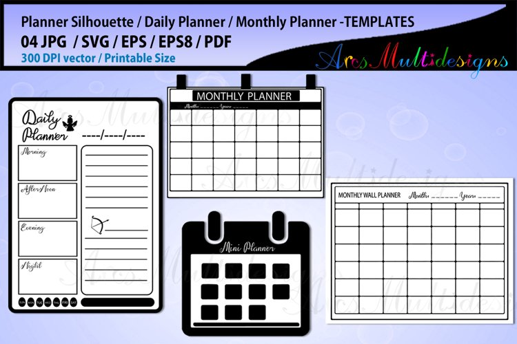 Daily Planner svg bundle/ monthly Planner printable template example image 1