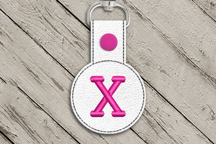 Letter X Round ITH Key Fob In the Hoop Embroidery Design