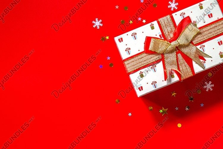Christmas presents gift red on red background. example image 1