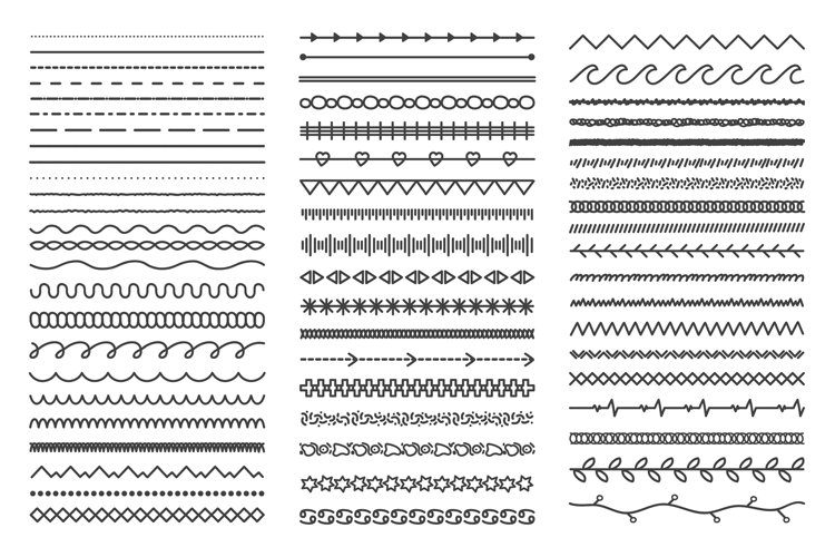 Hand drawn doodle dividers. Abstract doodle lines, decorativ example image 1