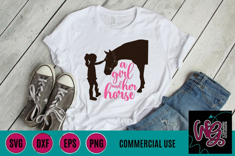 Girl and Her Horse SVG, DXF, PNG, EPS Commercial