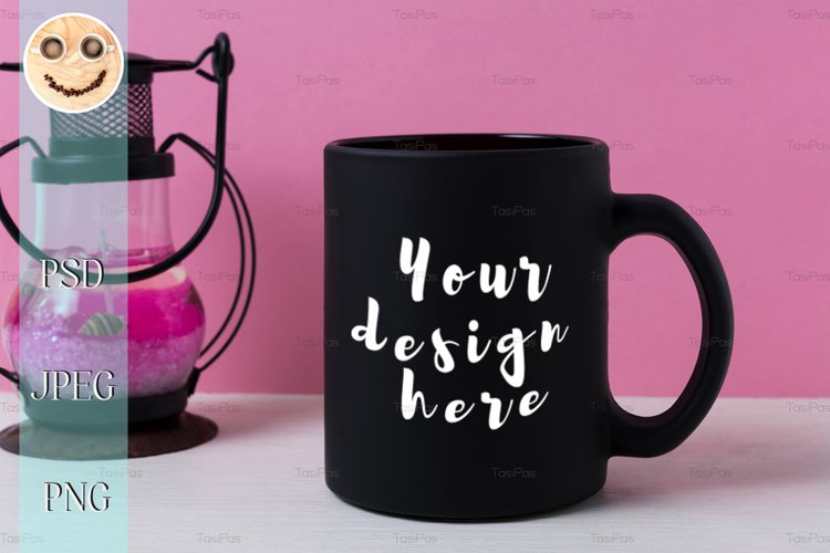 Coffee mug mockup with black metal candle lantern example image 1
