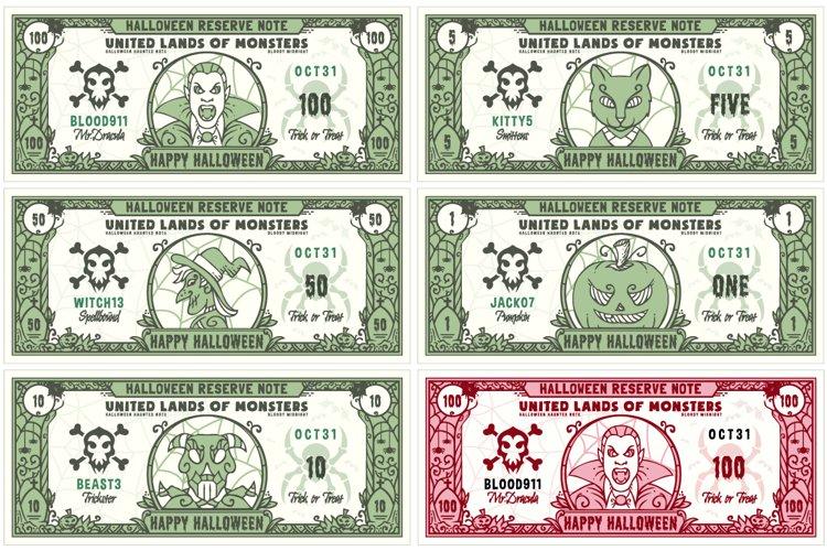 Halloween Money Banknotes Vector Set example image 1