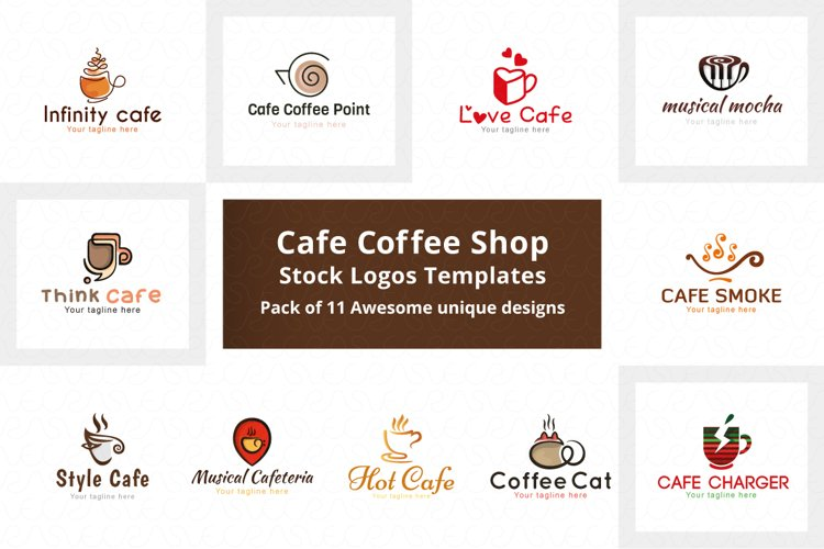 Cafe Coffee Shop Stock Logo Templates Pack example image 1