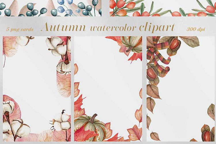 Autumn watercolor clipart.Watercolor greeting cards. example image 1