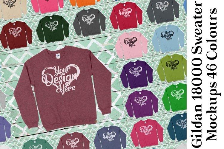 Gildan Sweatshirt Mockup 18000 Mock Up Black White Grey 939 example image 1