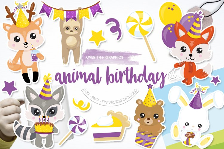 Woodland Birthday Graphics and illustrations, vecto example image 1