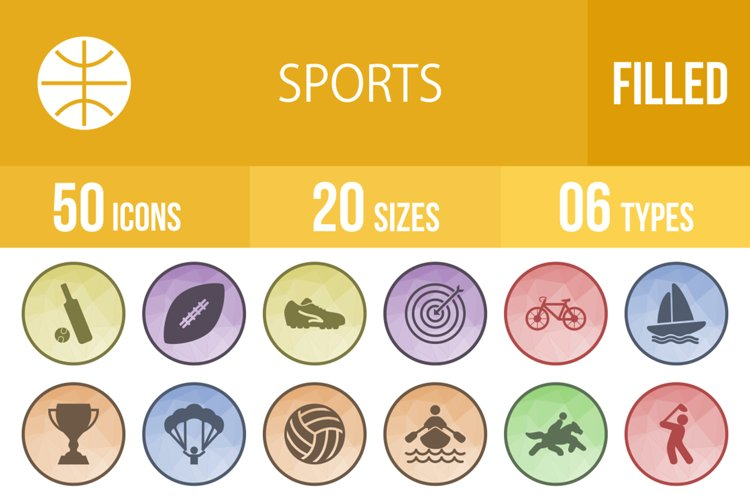 50 Sports Filled Low Poly Icons example image 1